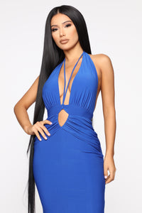 Call The Limo Halter Maxi Dress - Royal