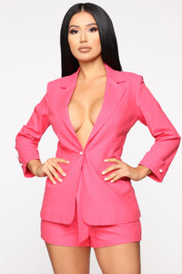 Props To You Blazer Set - Coral