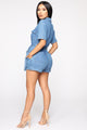 Live A Little Danger Denim Romper - Light Wash