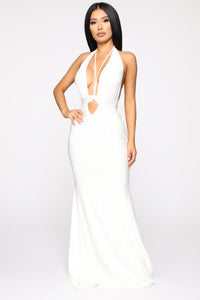 Call The Limo Halter Maxi Dress - White