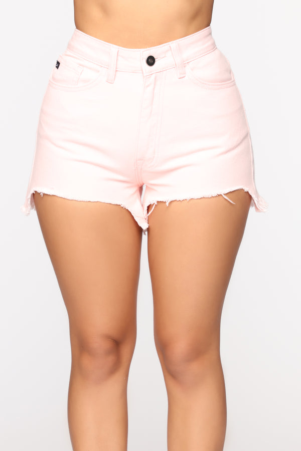 74d528555325 Keep A Hold On Me Distressed Shorts - Pink