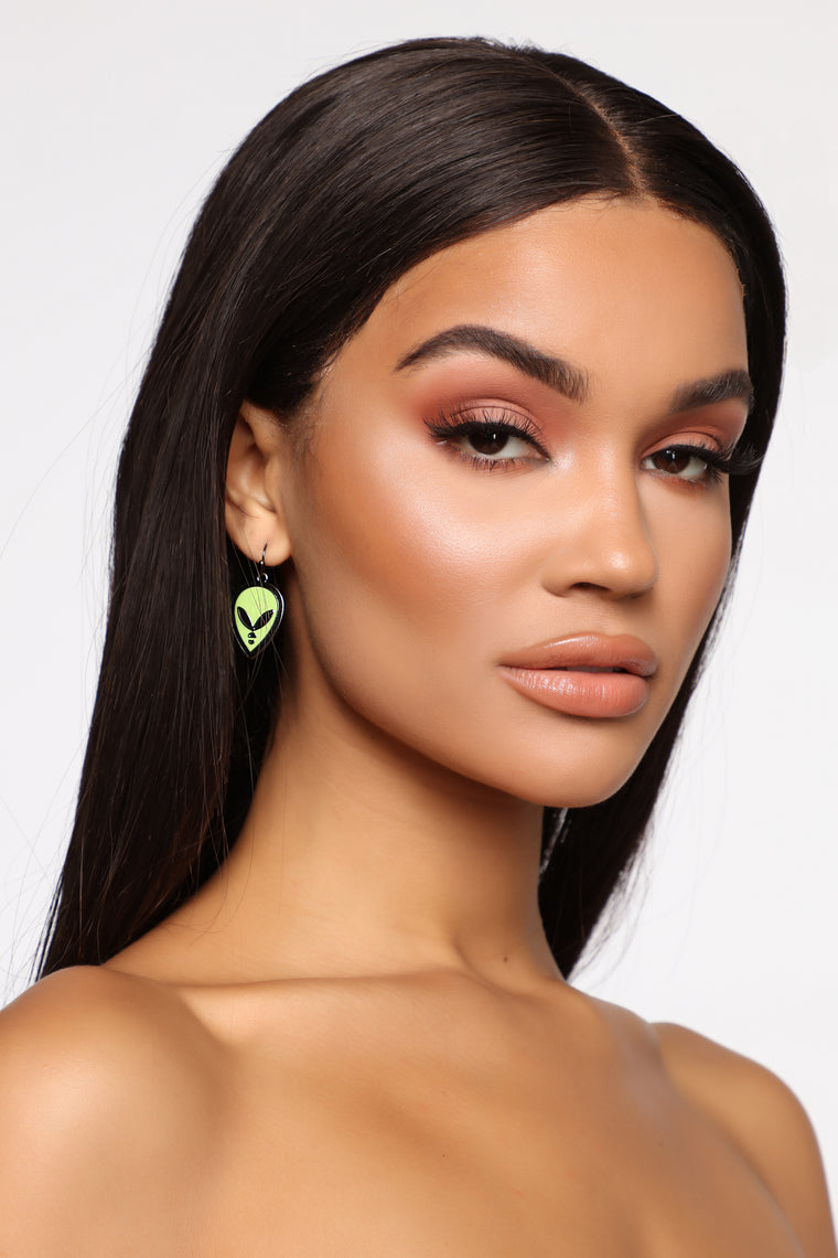 Out Of This World Earrings - Lime Green