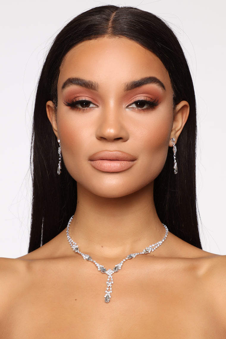 Bling Me Up Necklace Set - Silver