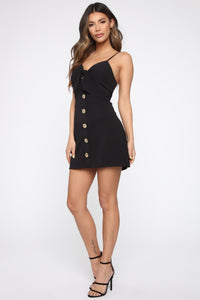 Strolling Through The Park Mini Dress - Black