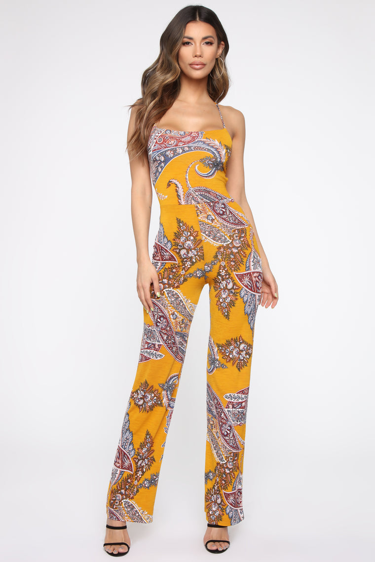 Rylie Paisley Jumpsuit - Mustard/Combo