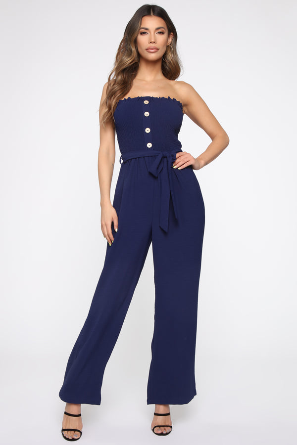 8209d2627db2b Deep Thoughts Smocked Jumpsuit - Navy