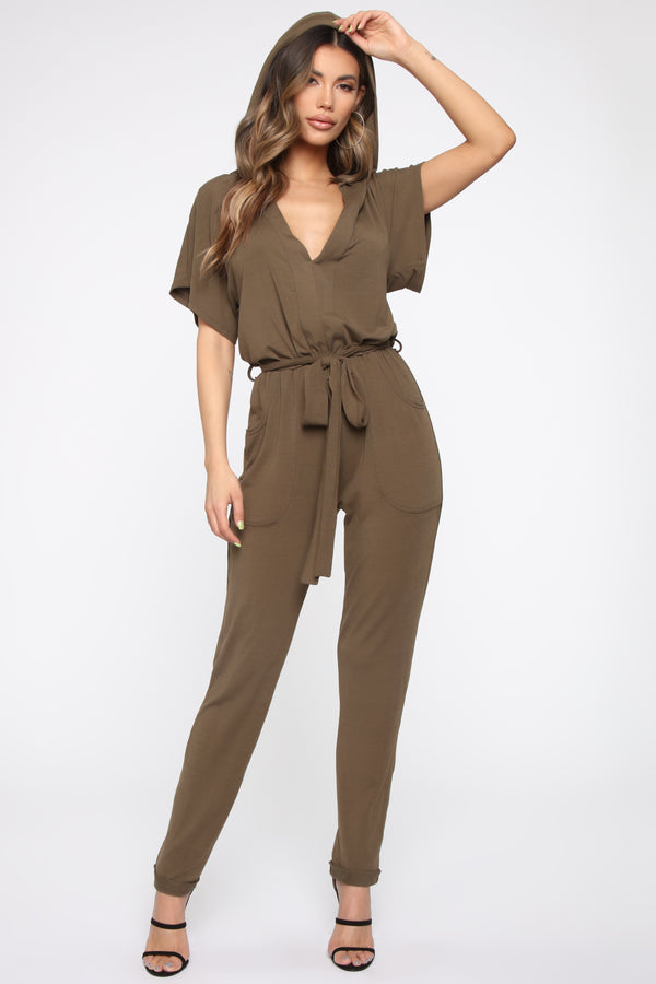 a3155debeb Hiding Out Hooded Jumpsuit - Olive