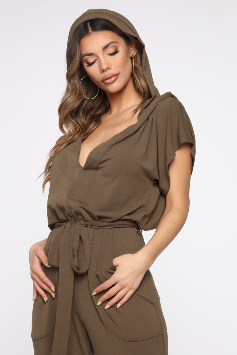 Hiding Out Hooded Jumpsuit - Olive