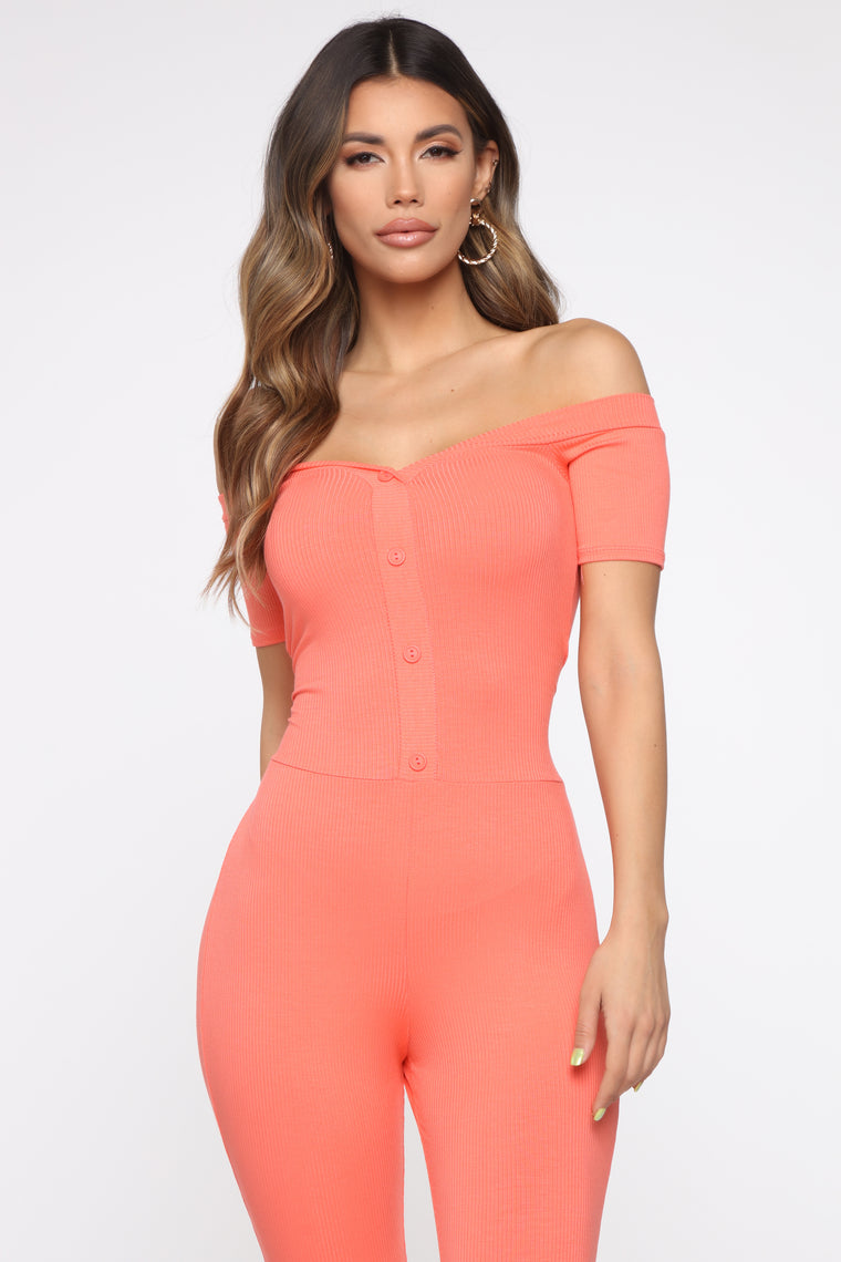 Foolish Ribbed Jumpsuit - Coral