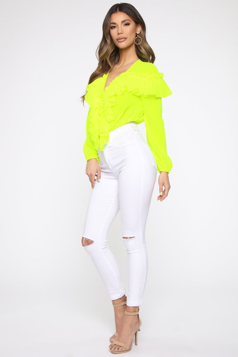 Don't Change Ruffle Bodysuit - Neon Yellow