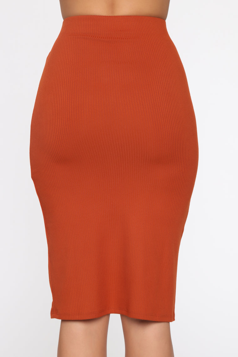 Kailey High Rise Midi Skirt - Rust