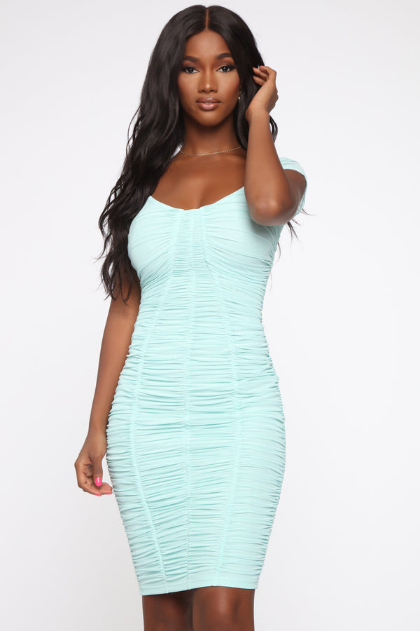 ee200b0290 Simply Ageless Ruched Midi Dress - Mint