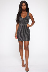 The Best Night Rhinestone Mini Dress - Black