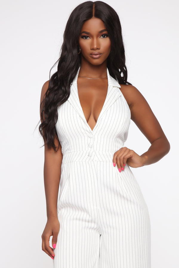8314d7b74fa816 Ashleen Striped Halter Jumpsuit - White Black