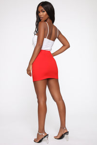 Open Heart Ponte Mini Skirt - Red
