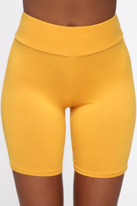 Out For A Ride Biker Shorts - Mustard