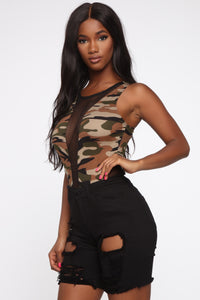 I'm Out In The Open Camo Bodysuit - Olive/Combo