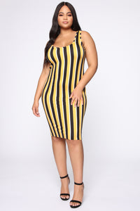 Keep Me Company Midi Dress - Mustard/combo