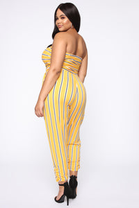 One Kiss Jumpsuit - Mustard/Combo