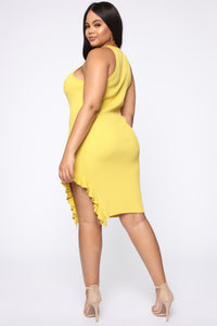 Stretching the Truth Mini Dress - Yellow