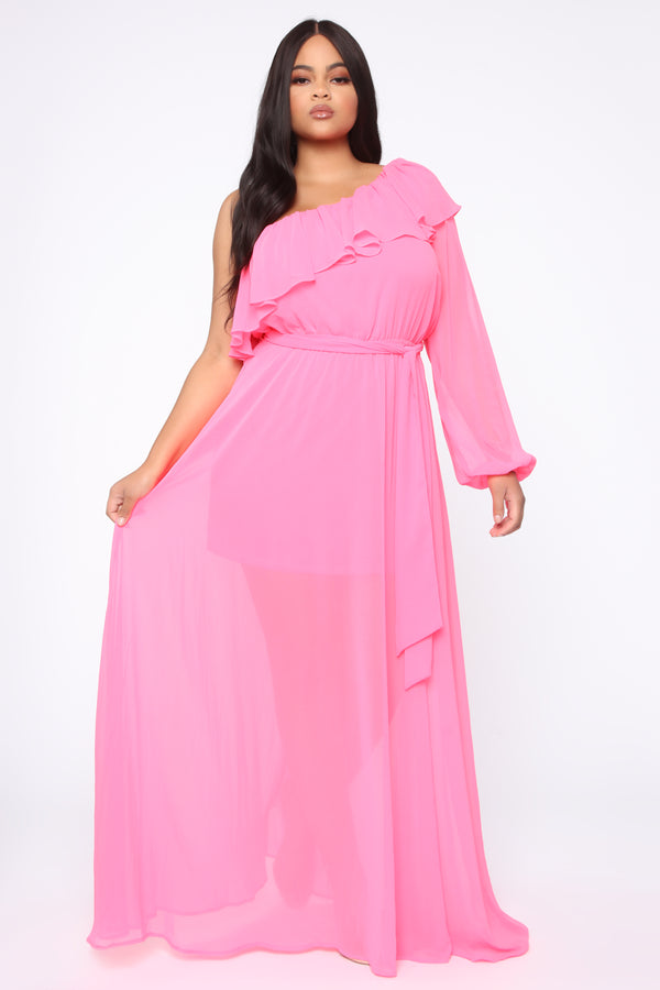 2c24b49ae3f18 Feeling Fun Off Shoulder Maxi Dress - Neon Pink