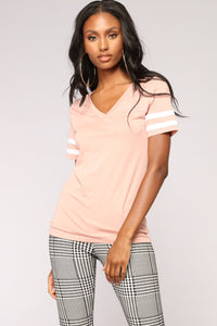 Game On V Neck Top - Mauve