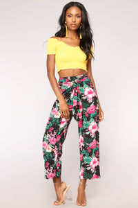 See You Later Print Pants - Black