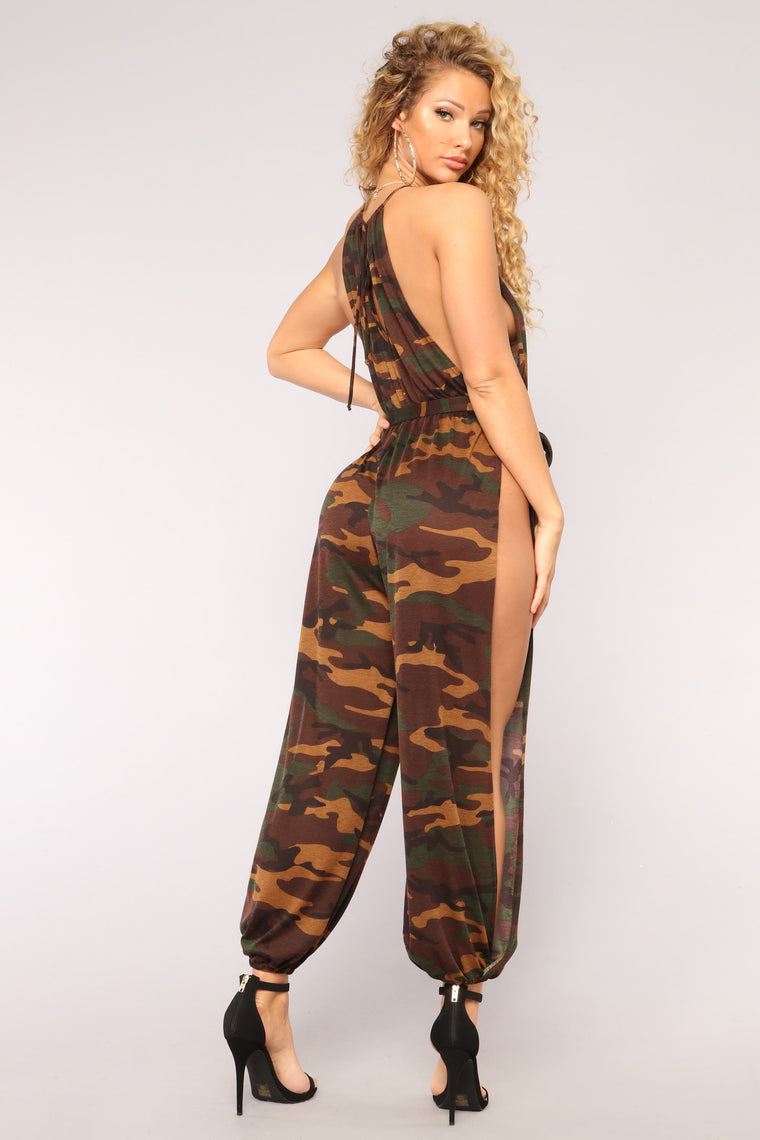 Won't Give Up Jumpsuit - Olive Camo
