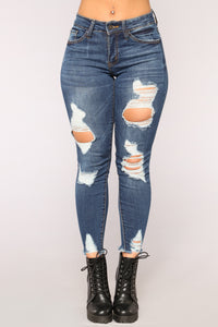 Don't Let Me Down Ankle Jeans - Dark Denim