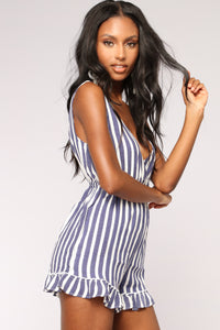 Stay Afloat Stripe Romper - Blue/White