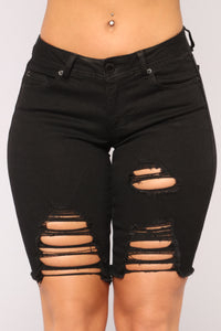 Making Waves Denim Bermudas - Black