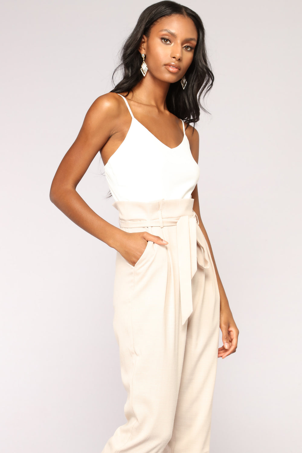 No Type Jumpsuit - Ivory/Taupe