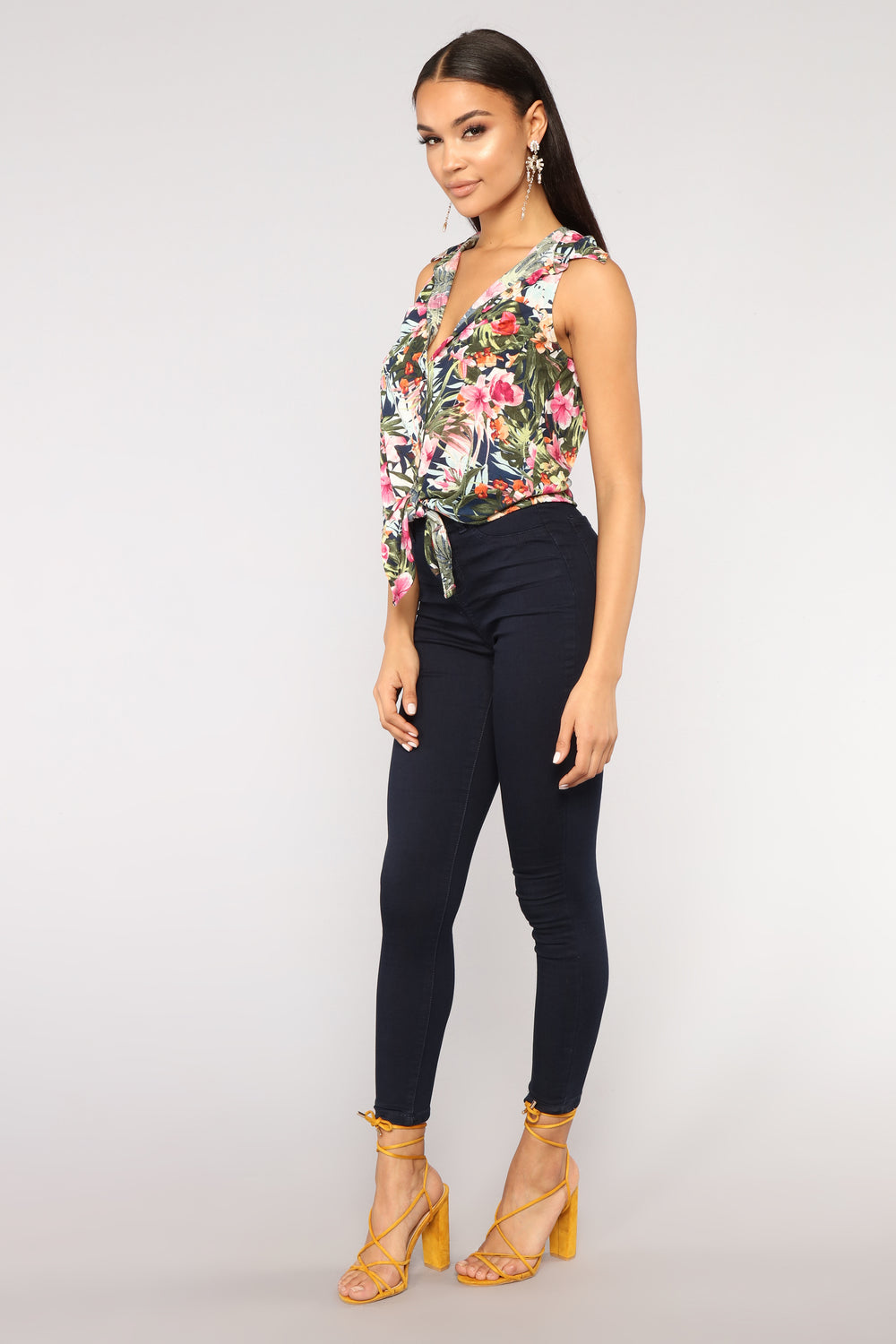 Ahead Of The Game Floral Top - Blue