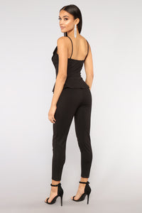 Smooth Babe Peplum Jumpsuit - Black