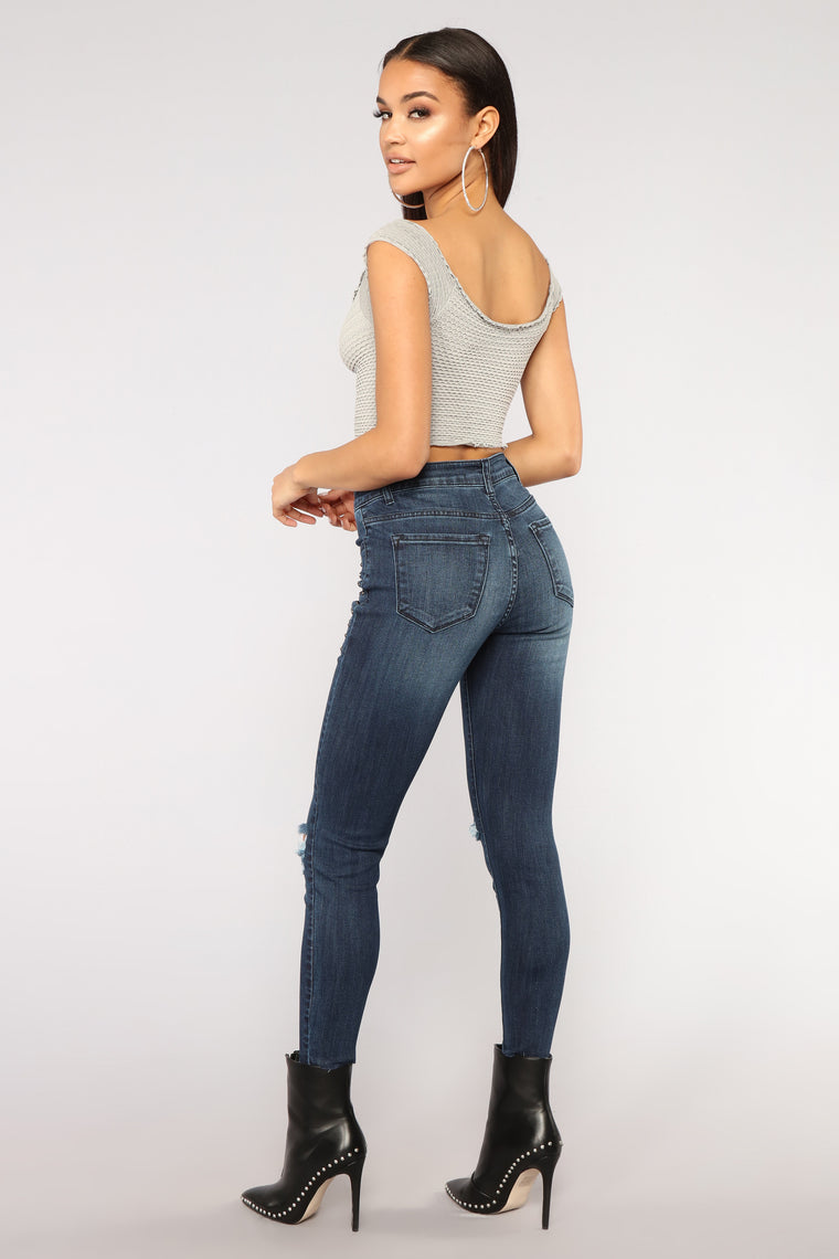 Hey There Stud High Rise Jeans - Dark Denim