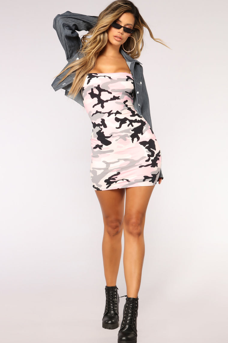Girl Worth Fighting For Camo Dress - Pink