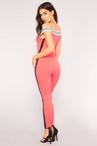 When You Kiss Me Jumpsuit - Neon Coral