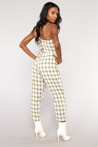 Fall Into Place Plaid Jumpsuit - Ivory/Olive