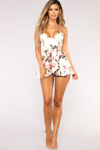 Roam Around Floral Romper - Ivory Angle 2