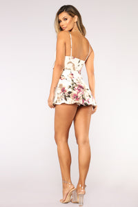 Roam Around Floral Romper - Ivory Angle 5