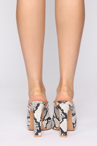 Made For You Heeled Sandals - Black/White Snake