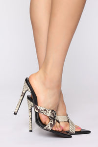Gimme A Little Sign Heeled Sandals - Snake