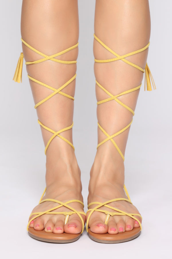 e987f5c5251 You re Alright Flat Sandals - Yellow