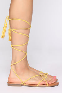 You're Alright Flat Sandals - Yellow