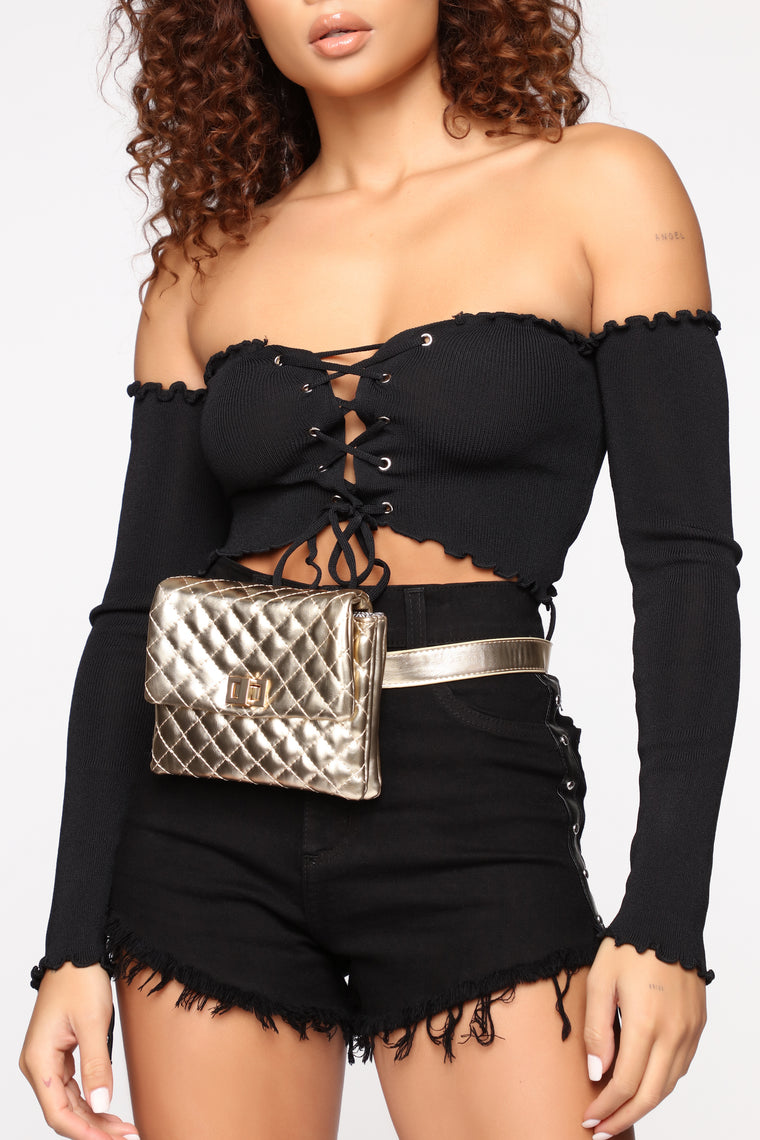 Sasha Quilted Crossbody Bag - Gold