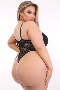 One Last Kiss Lace Teddy  - Black Angle 4