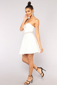 Midnight Sky Lace Dress - White