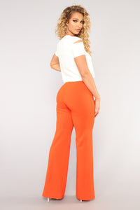 Victoria High Waisted Dress Pants - Orange
