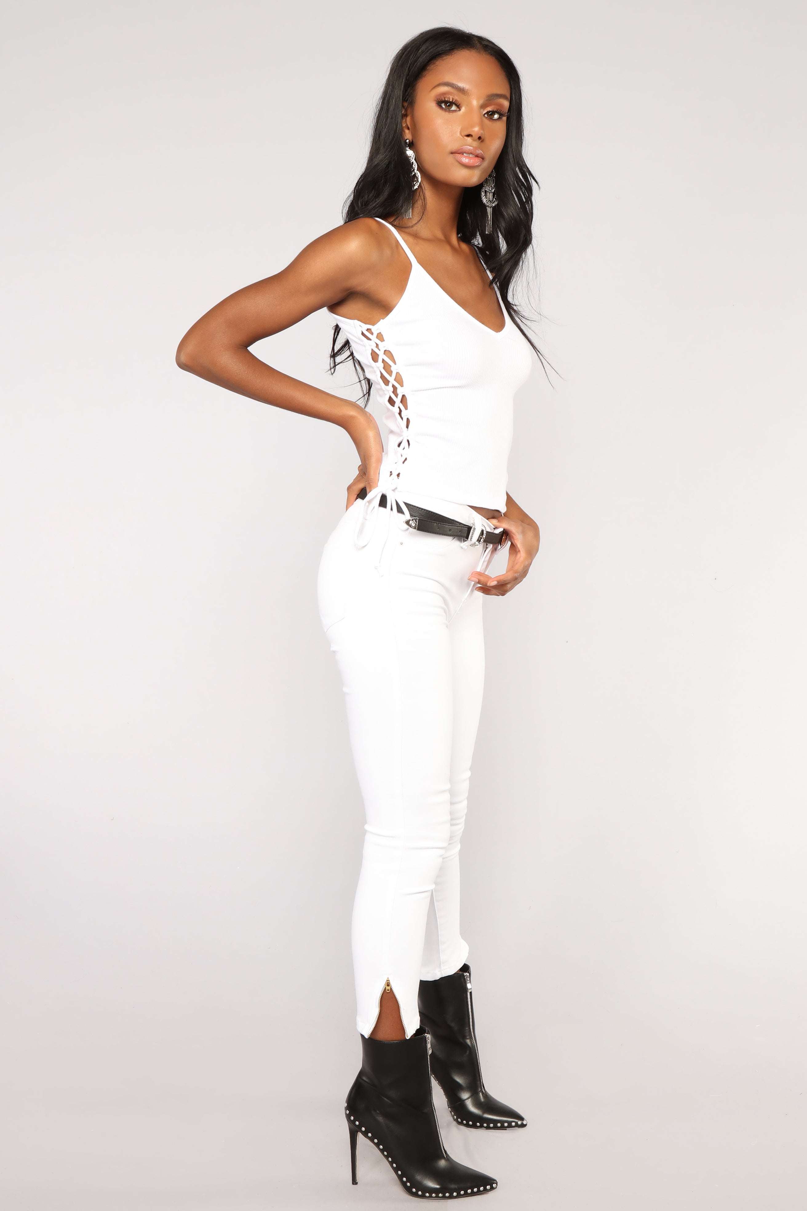 d19c8a4d3a3 Tied Down Lace Up Tank Top - White