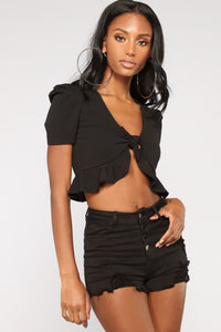 Lissette Ruffle Top - Black